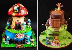 Gâteaux inspirés par les schtroumpfs et le livre de la jungle