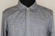 The North Face Mens Button Front Long Sleeve Cotton Shirt sz XL Blueish Gray #TheNorthFace #ButtonFront