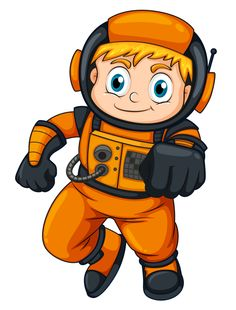 An astronaut wearing an orange suit Stock Illustration , Astronaut Cartoon, Cartoon Airplane, Space Party, Space Theme, Robot Clipart, Astronaut Illustration, Cartoon Download, Orange Suit, Transportation Theme