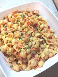 Thousand Island Seashell Pasta Salad recipe - Best Recipes - Add green onions and a can of ham or chicken