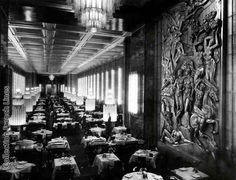 SS Normandie: la spectaculaire salle à manger (8,5m de haut, 86 de long).