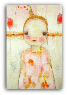 "Large Original Mixed Media Painting  by Christina Romeo 24"" x 36"" Sad Princess. $920.00, via Etsy."