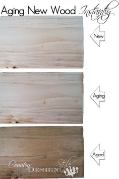 Aging New Wood Instantly using tea, steel wool and vinegar to look like old barn wood. Perfect for farmhouse styled DIY projects | Country Design Style | countrydesignstyle.com