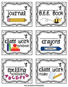 Free printable label's for notebooks, etc.