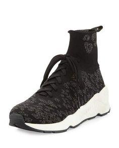 S0G3X Ash Maniac Knit High-Top Sneaker, Black/Fiesta