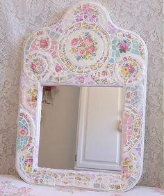 Mirror frame mosaic #shabby #decorating