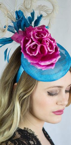 Turquoise Blue and Hot Pink Cocktail Hat. Fun Headpiec for Mother of the Bride or Racing Fashion, Day at the races. Kentucky Derby Oaks day, Royal Ascot, Epsom Derby, Melbourne Cup. Raceday Fashion ideas and inspiration. #millinery #kentuckyderby #derbyoutfits #royalascot #ascotoutfits #racingfashion #motherofthebride #weddings #weddingguest #affiliatelink #hats