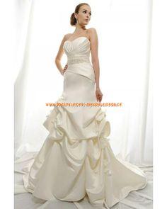 Luxuriöse Brautkleider Creme aus Satin mit Applikation