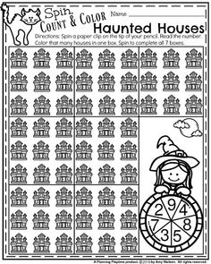 Halloween Kindergarten Worksheets - Spin, Count and Color Haunted Houses. First Grade Worksheets, Kindergarten Math Activities, Kindergarten Math Worksheets, Class Activities, Halloween Activities For Toddlers, Narrative Writing Prompts, Halloween Worksheets, Halloween Arts And Crafts, Rhyming Words
