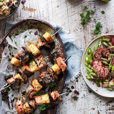 Japanese Sticky Salmon Skewers by @foodfixup and a bottle of Adelaide Hills Chardonnay anyone?