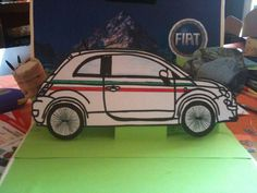 FIAT 500 pop up book, of my son's homework, actually made from my wife..