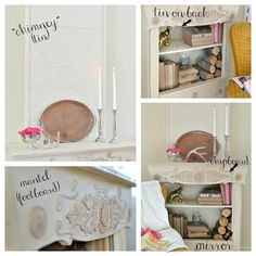 Scrapbooking chipboard embellishments applied to furniture, gilded, painted, and antiqued look like beautiful wood cutouts