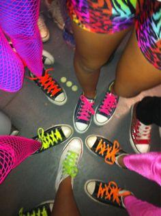 #neon #laces #girls #sneakers #converse #fun #pants