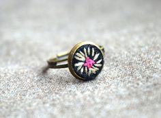 Tiny Boho Ring Felt Embroidered Ring Boho by ContemporaryFeltArt