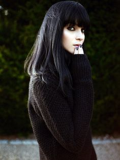 Long straight dark hair with bangs