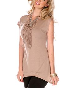 Take a look at this Taupe Fringe Cap-Sleeve Top - Women & Plus by Aster on #zulily today!