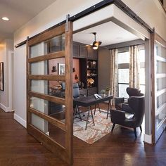 Amazing home office design! What are your thoughts? Would you want this as your home office? Home Office Design, Home Interior Design, Interior Office, Modern Interior, Wood Barn Door, Metal Barn, Barn Door With Glass, Metal Doors, Wooden Doors