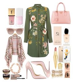 """Green and pink!"" by fashion-house-boutique on Polyvore featuring Oasis, Christian Louboutin, Prada, Christian Dior, Yves Saint Laurent, STELLA McCARTNEY, Aurélie Bidermann, River Island, Giorgio Armani and Benefit"
