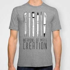 "Writers rejoice! Enjoy this jersey t-shirt featuring the most humble of truths; ""The Pen is mightier than the sword""!"
