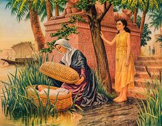 Baby Moses in the Bulrushes (Original Macmillan Poster), Lithograph print by John Turner. Ancient Egypt History, Baby Moses, Bible Pictures, Poster Prints, Art Prints, Bible Art, Illustration Artists, Christian Art, Religious Art