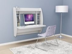 White Floating Desk with Storage metal hanging rail system New Easy Storage