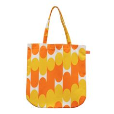 Laura Spring Orange & Mustard Milkky Tote Bag: This tote bag is a refreshing update on the classic tote bag. With curved corners (a firm favourite of Laura Spring's) and printed handles, this bag is designed to be a handy and contemporary accessory. Brings a splash of colour and pattern to any outfit. Made in Scotland.