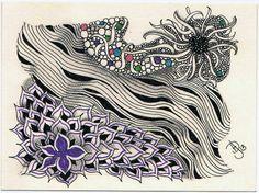 Zentangle Artist Trading Card Swap Postcard #12 by Certified Zentangle Teacher Donna Hornsby
