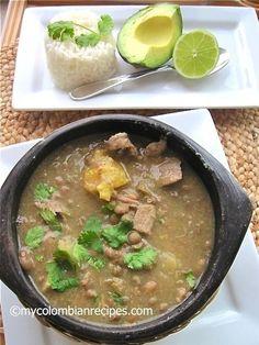 Sancocho+o+Sopa+de+Guandú+(Pigeon+Peas+Colombian+Soup) - would like to try this w black eye peas Colombian Dishes, My Colombian Recipes, Colombian Cuisine, Cuban Recipes, Kitchen Recipes, Cooking Recipes, Ripe Plantain, Pigeon Peas, Comida Latina