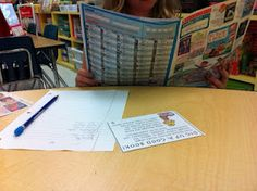 task cards being used for literacy