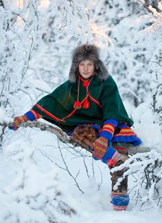 """North Saami boy in the traditional """"luhkka"""". The Saami live in Sweden.  (Credit to Laila Duran and those who provided the information.)"""