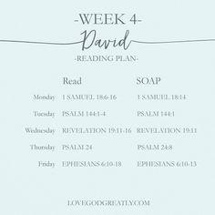 {Week 4 - Reading Plan} #David Bible Study @ LoveGodGreatly.com