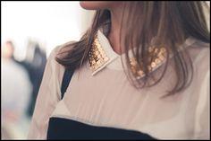 Mademoiselle Jolie: DIY: Cuello de camisa con tachuelas. Mi obsesión por los stud collar