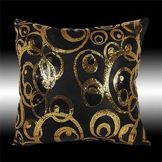 2X-ABSTRACT-SHINY-GOLD-BLACK-SEQUINS-CUSHION-COVERS-THROW-PILLOW-CASES-16