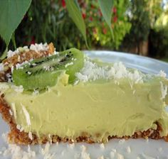 Raw Key Lime Pie: For basic nut crust:  3/4 c. raw almonds  1 c. raw walnuts  10 medjool dates (1 c. pitted and packed down)  Pinch of salt    For pie filling:  3/4 c. fresh squeezed lime juice  1 1/2 c. avocados  1/2 c. raw honey  1/8 tsp. salt  1/2 tsp. vanilla  1/2 c. coconut oil  2 tbsp. lecithin
