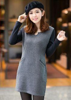 Korean Style Dress Grey
