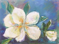 Magnolia and Rose 9x12 by Escape Artists Studio Oil ~  x