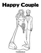 Happy Couple Coloring Page and lots more wedding themed pictures