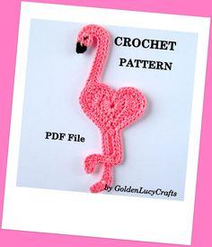 CROCHET PATTERN Flamingo Applique PDF File by GoldenLucyCrafts