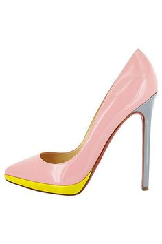 Christian Louboutin - Women's Shoes - 2013 Spring-Summer.  These shoes have an 80s flair with the color combo of pink, grey  yellow.