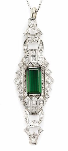 Green Tourmaline and Diamond Pendant with Chain (Doyle Auctions, Sale 12JL01 - Lot 657)