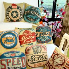Deluxe Motor Collection Rustic Retro Motorcycle Association Pop Art Cotton Blend Linen Throw Cushion Covers for Vintage Lovers Garage Mancave Diners Drive In Decor 45x45cm  ❤ Resellers Welcome ❤ Dropshipping Available ❤ Great as Gifts.  View more at spreesy.com/cookies