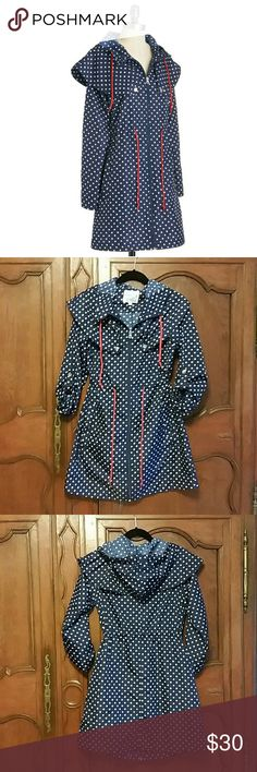 Modcloth Bea and Dot navy  raincoat Super super cute and sold out. This coat is navy and red. Rarely worn and gently laundered. Bea and Dot  Jackets & Coats Trench Coats