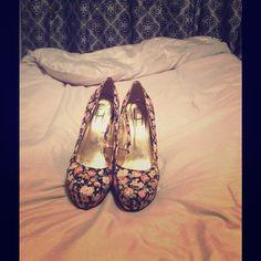 Flower printed heels Flower printed heels Shoes Heels