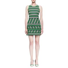 Lanvin Mixed-Stripe Linen-Blend Mini Dress ($594) ❤ liked on Polyvore featuring dresses, apple green, green mini dress, short green dress, short dresses, open back mini dress and striped sleeveless dress
