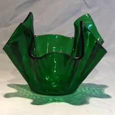 Chance 'Hammered' green glass Handkerchief vase
