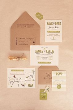 Magnolia Rouge: Green and Brown Modern Typography Invitation