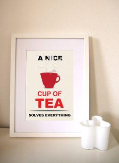 Retro Tea Print   mid century print Retro poster by DickensInk, £10.00