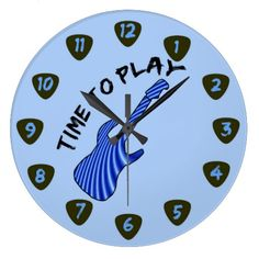 Time To Play Electric Guitar Wall Clock ... The face of this clock features a blue electric guitar with curved white stripes.  The text 'Time to play' is written in scratchy font and bends around the guitar's head.  The hours are marked by numbered guitar picks on a light blue background.  To see all our clocks and watches with this graphic visit http://www.zazzle.com/thecreativitybeast/gifts?cg=196783025739069943&st=ranking&sd=asc&ps=120&rf=238548534858148461