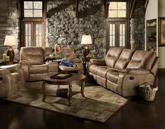 """Poncho Sand"" Reclining Sofa and Loveseat $1399"