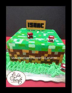 Pastel Minecraft de Chocoalte con Cereza